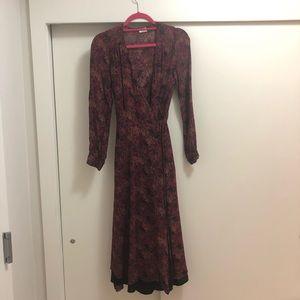 Aritizia midi wrap dress with deep v fall colors